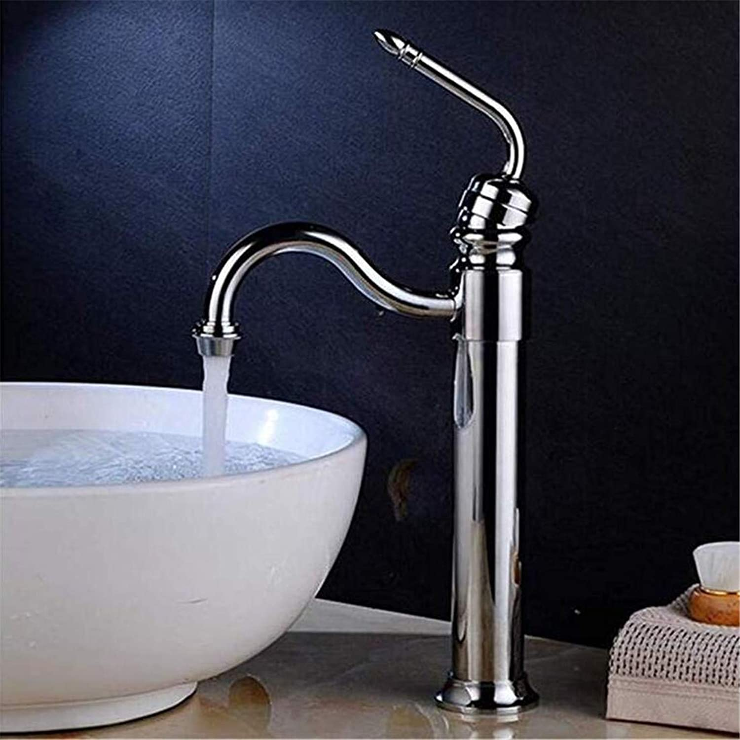 Luxury Modern Hot and Cold Faucet Vintage Platingchrome Basin Faucet Single Hole Hot and Cold Hoses Vessel Sink Water Taps