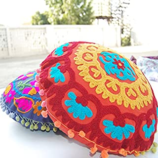 Traditional Jaipur Boho Throw Round Suzani Pillowcases, Embroidered Cushion Covers 16