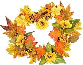 Fall Front Door Yellow Mum Sunflower Wreath Heart Thanksgiving Wreath