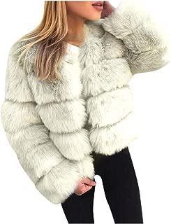 Faux Fur Plus Size Coat, QIQIU Womens Thick Winter Warm Long Sleeve Solid Fleece Loose Short Elegant Jacket Outwear