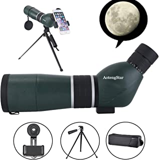 Spotting Scope 15-45X60 HD Waterproof Birdwatching Monocular Telescope for Stargazing Archery Wildlife Scenery BAK4 45-Degree Angled Eyepiece Scope,Optics Zoom 43-21m/1000m withTripod&Phone Mount
