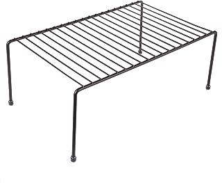 yaenoei Kitchen Storage Shelf Rack w/Plastic Feet - Medium - Steel Metal - Rust Resistant Finish - Cups, Dishes, Cabinet & Pantry Organization - Kitchen (13.25 x 6 Inch) [Bronze]