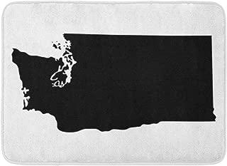 "Doormats Bath Rugs Outdoor/Indoor Door Mat Shape Map of The U State Washington Silhouette Abstract America Area Bathroom Decor Rug 16"" x 24"""