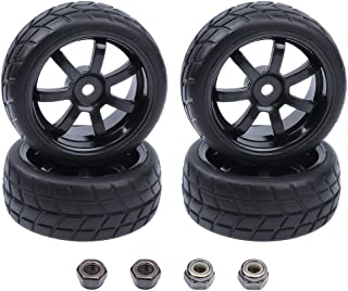 Hobbypark 4Pcs 26mm 1/10 RC Touring Car Tires & 12mm Hex Hub Wheel Rims 7 Spoke Foam Inserts for Redcat Racing HPI Tamiya HSP Exceed