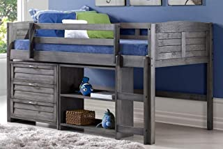 Donco Kids 790-TAG-C Louver Modular Low Loft Bed Combo C, Twin, Antique Grey