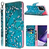 Note 20 Ultra Case Wallet,JanCalm for Samsung Note 20 Ultra Case PU Leather Pattern [Wrist Strap][Card/Cash Slots][Kickstand Feature] Flip Cover for Galaxy Note 20 Ultra Case 5G (Plum Blossom)