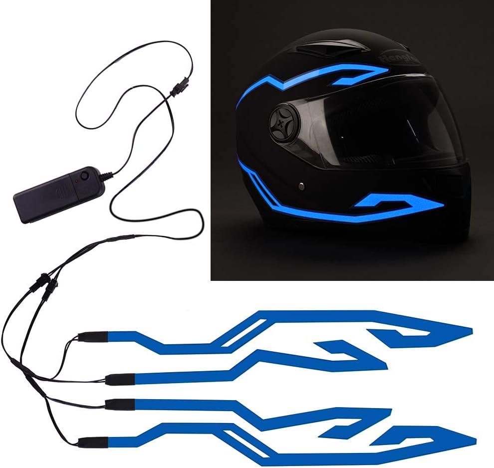 Jiguoor Motorradhelm Licht 4 Teiliger Wasserdichter Led Aufkleber El Light Flash Strip Kit Motorradlichtstreifenleiste Fahrsignal Sicherheits Led Licht Für Nachtfahrten Dekorationssatz Blau Auto