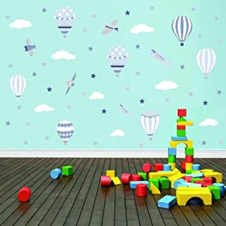 TOARTi Hot Air Balloon Wall Sticker, Airplane with White Clouds Stars Wall Decal for Kids Bedroom Decoration,Sky Sticker Classroom Wall Art (58pcs)