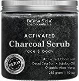Activated Charcoal Scrub | Deep Cleanser, Pore Minimizer & Reduces Wrinkles, Blackheads, Acne Scars, Anti Cellulite Treatment - Great for Face & Body by Buena Skin 10 oz.