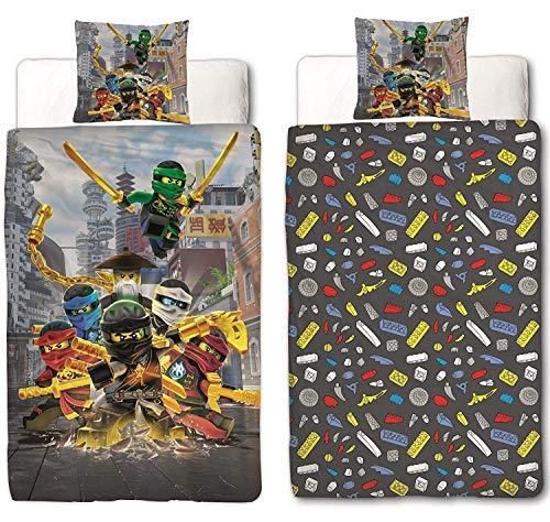 Character World Lego Ninjago Reversible Bed Linen Set, 135cm x 200cm + 80cm x 80cm, Linen, 1475, Cotton, 100% Cotton Linen, Ninjago Mountain, 135 x 200cm