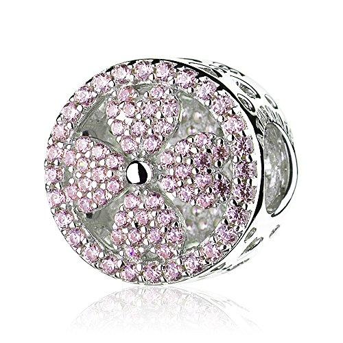 ATHENAIE 925 sterling zilver pleister roze CZ bloemblaadjes van liefde kralen Charms