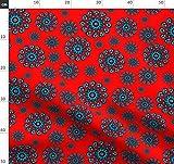 Rosette, Rot, Schwarz, Mandala, Herzen, Türkis Stoffe -