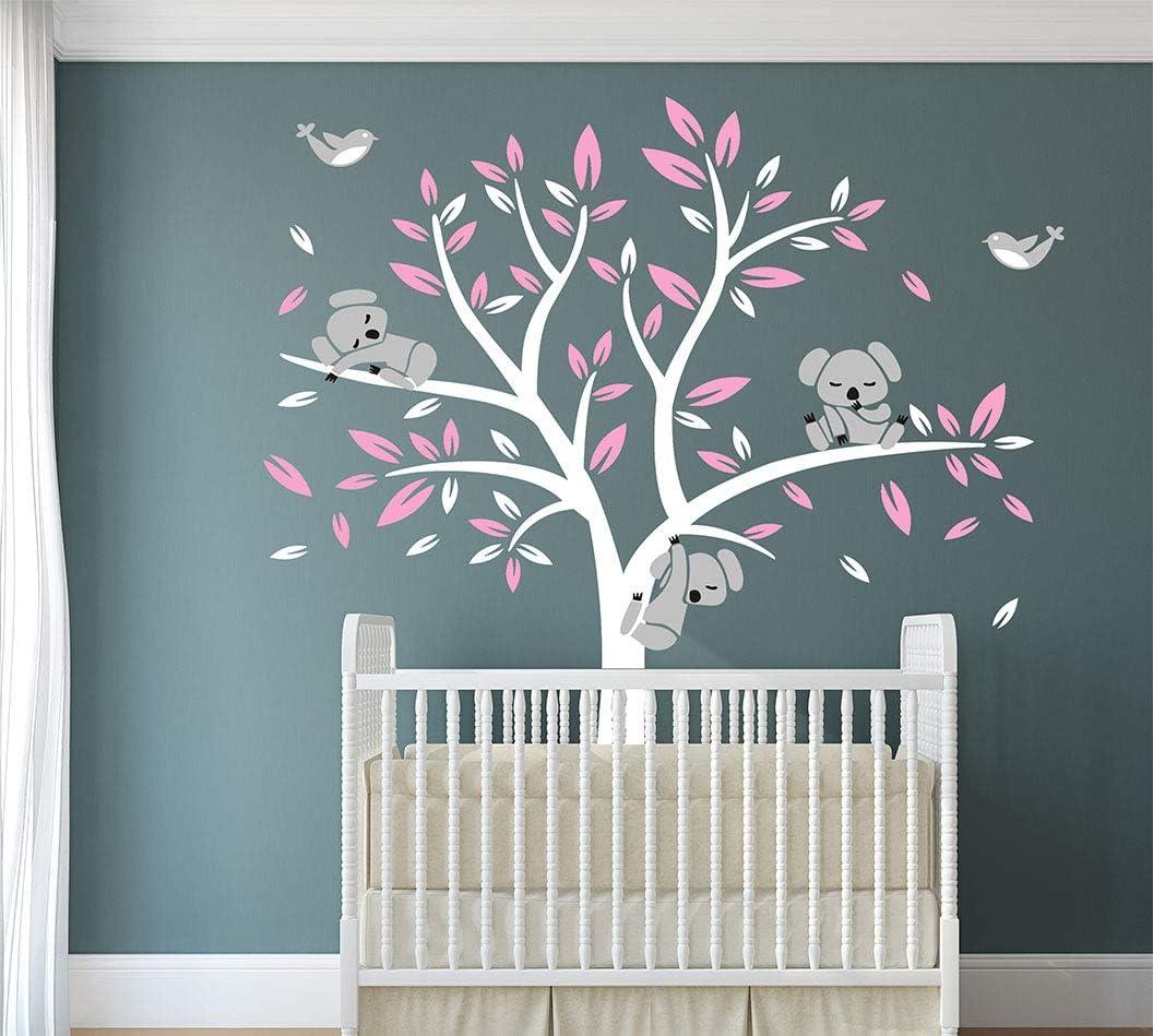 Wall decals Nursery Tree sticker Tree wall decal Nursery Wall Decal Corner Tree Wall Decal-Baby Tree Wall Decal Koala Vinyl Decal,