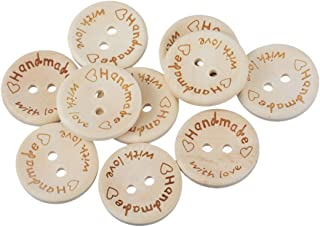 Souarts Creamy White Handmade with Love Wood Wooden Button 20mm Pack of 50pcs