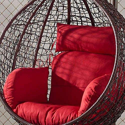 Single Outdoor Hängende Stuhl Stripised Körbe, Dicke Hängende Ei Stuhlkorb Zurück Stuhlmatte,Red