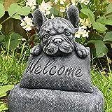 French Bulldog Statue with Plinth Fairies Garden Accessories - Puppy Dog Bulldog Welcome Miniatures Outdoor Decor Ornament for Lawn Patio Backyard Garden, Summer Outside Decor
