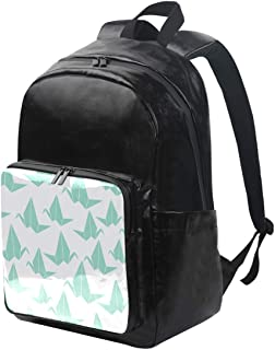 DEZIRO - Mochila de lona con grulla de papel para libros, mochila de viaje, mochila plegable con correas ajustables para el hombro al aire libre