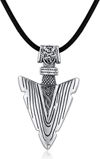 JUSTKIDSTOY Arrow Necklace Viking Jewelry 925 Sterling Silver Viking Arrowhead Pendant with Black Leather Cool Jewelry Gifts for Men Boyfriend Valentine`s Day