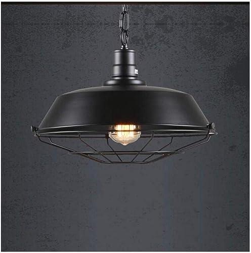 HBLJ Chevet Lampadjustable Suspension Plafonnier Loft Retro Cafe Bar Bar Lustre Creative Pot Restaurant Lumière (Couleur  Noir-36Cm)