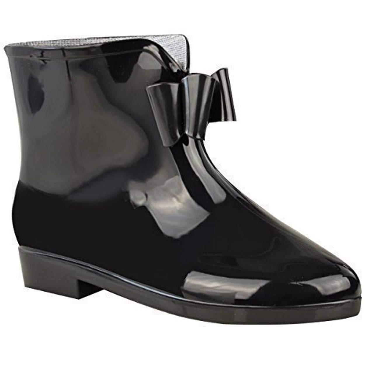 Womens Black Wellies Ladies New Bow Wellington Ankle Snow RAIN Boots