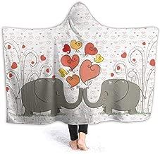 EJudge Hooded Blanket Elephant Love Heart Wearable Fleece Blankets Soft Warm for Kid Adults Women Men Throw Cuddle Poncho Cloak Cape 50 x 40 inch