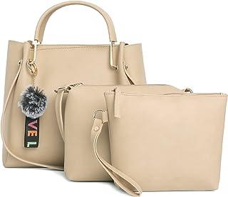 Fostelo Women's Galaxia Collection PU Leather Handbag Combo (Set Of 3) (Beige)