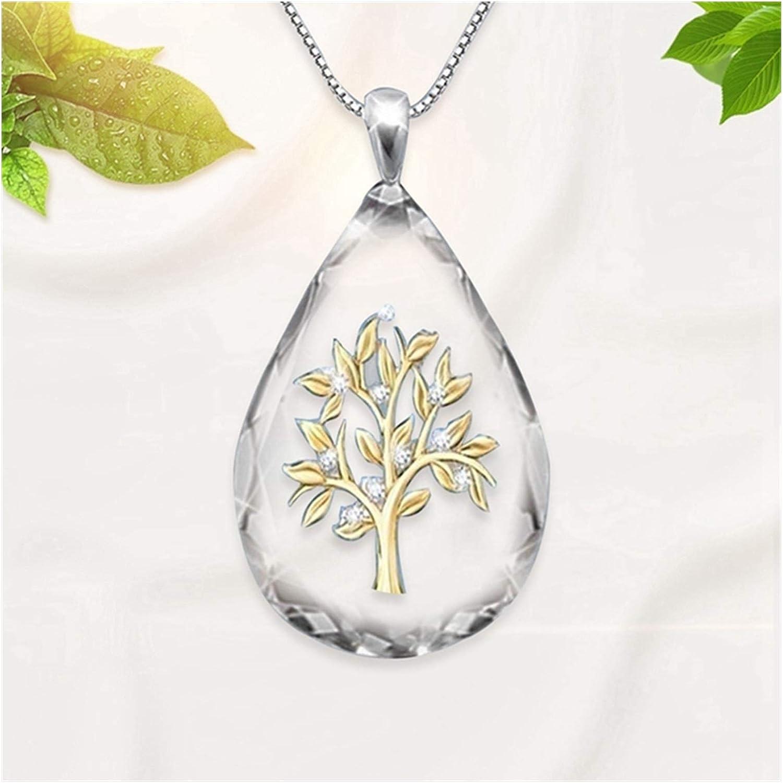 WAZG SYBLD Drop-Shaped Tree-Shaped Pendant Necklace (Metal Color : GD)