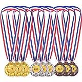 12 Pièces Or Argent Bronze Métal de Style Olympique Médailles du Gagnant Or Argent Bronze Prix pour Le Jeu et la Fête (12 pièces)
