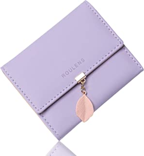 Roulens PU Leather Wallet for Women RFID-Blocking, Ladies Bifold Leaf Pendant Coin Zipper Small Purse with 5 Card Slots an...