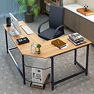 Tribesigns Modern L-Shaped Desk Corner Computer Desk PC Latop Study Table Workstation Home Office Wood & Metal (Light Walnut Brown)