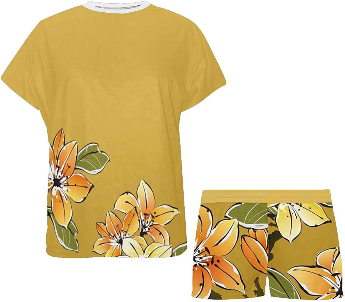INTERESTPRINT Chinese Painting Flower Women Sleepwear Short Sleeves Pajama Sets