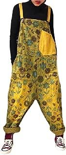 XINHEO Womens Basic Cotton Big Pockets Overalls Corduroy Harem Bib Pants