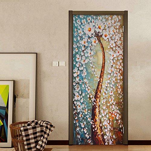 Mural Para Puerta Arte Abstracto Moderno 3D Árbol Colorido Pintura Al Óleo Sala De Estar Dormitorio Desmontable Autoadhesivo Papel Pintado Puertas 90 X 200 cm