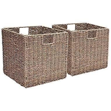 StorageWorks Seagrass Storage Woven Basket Iron Wire Frame, Foldable Wicker Storage Baskets Organizer, Large, 12.2 x12.2 x12.2 , 2-Pack