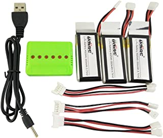 Fytoo Accessories 3PCS 3.7V 350mah Li battery +1pcs 3 in1 Balance charger + 3pcs conversion cable for UDI U818A WiFi FPV U845 U919 U919A U945A WiFi Rc Quadrotor spare parts RC Drone battery