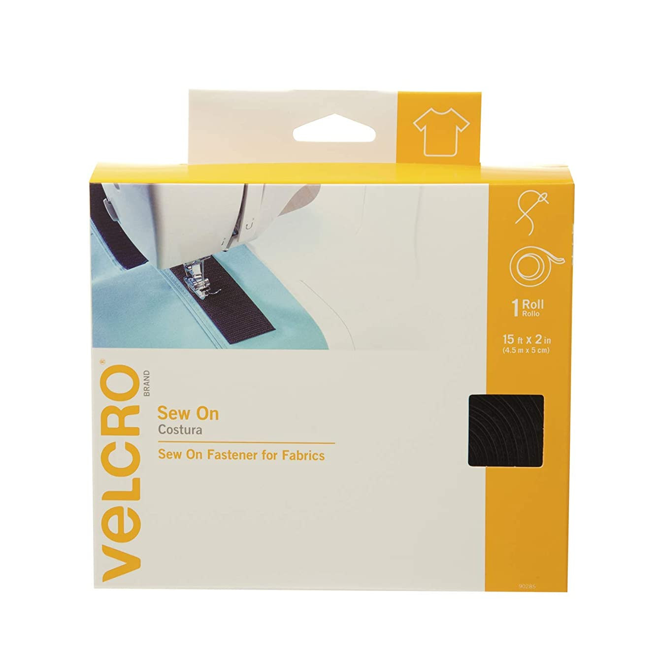 VELCRO Brand For Fabrics | Sew On Fabric Tape for Alterations and Hemming | No Ironing or Gluing | Ideal Substitute for Snaps and Buttons | Tape, 15ft x 2in, Black