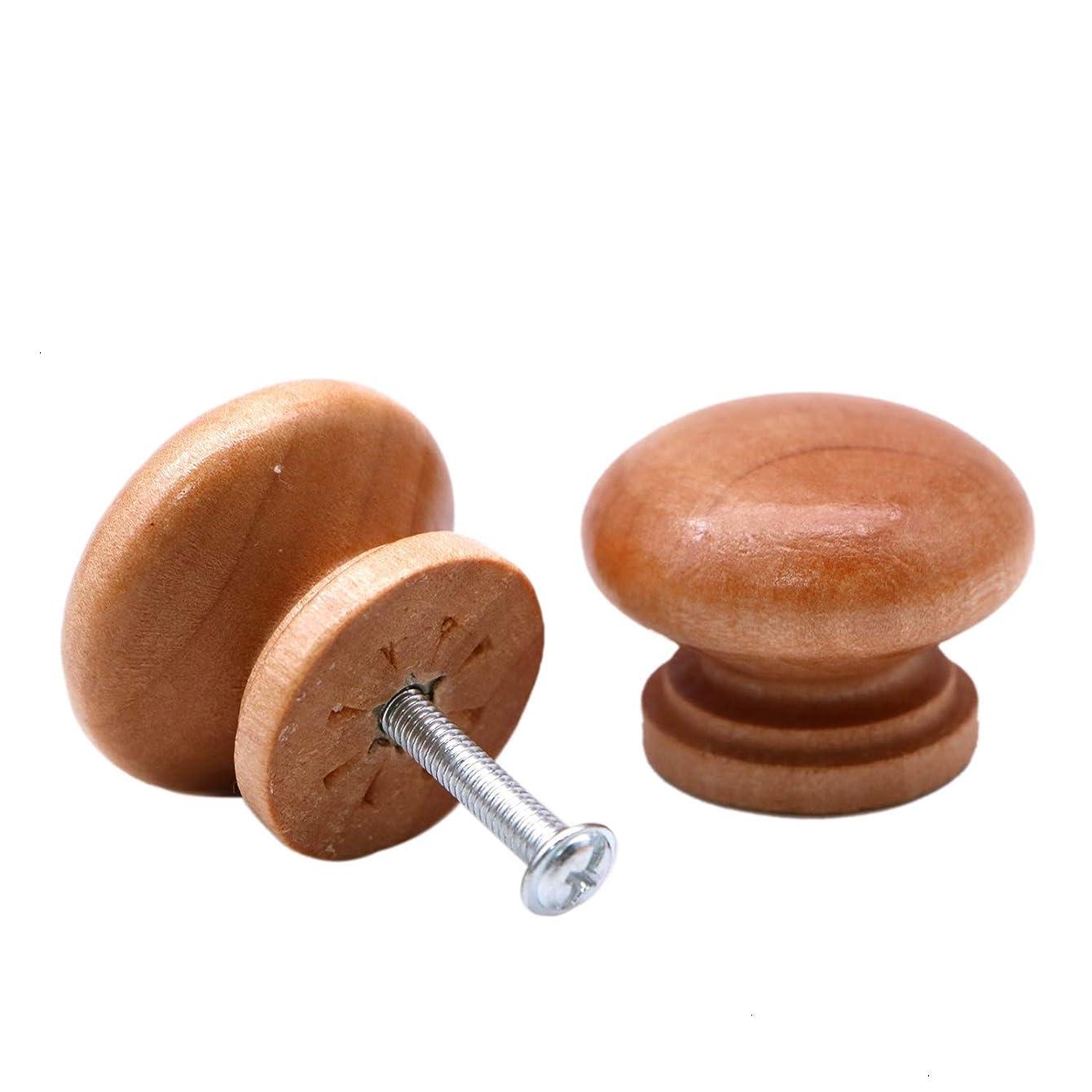 JETEHO Set of 20 Round Wooden Cabinet Knob Cupboard Drawer Wardrobe Door Pull Handle with Steel Screws(Diameter: 1.3 inches Height: 1 inch