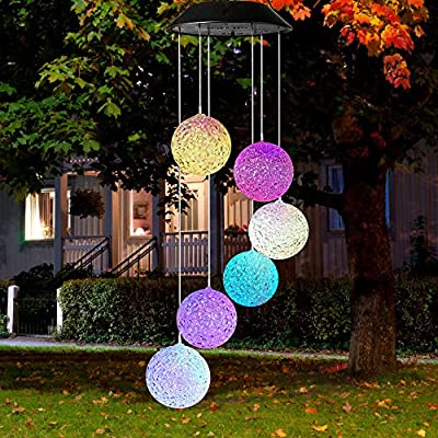 Solar Wind Chime Lights - Mobile IP65 Waterproof Solar Wind Chimes Lights with Changing Colors Led Solar Wind Chimes for Outside, Patio, Yard. (Crystal Ball)