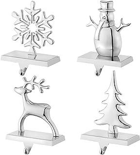 Christmas Stocking Holders for Mantel Set of 4 Reindeer Snowflake Snowman Pine Tree Vintage Metal Standing Stocking Hook S...
