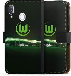 DeinDesign Klapphülle kompatibel mit Samsung Galaxy A40 Handyhülle aus Leder schwarz Flip Case Offizielles Lizenzprodukt VFL Wolfsburg Stadion