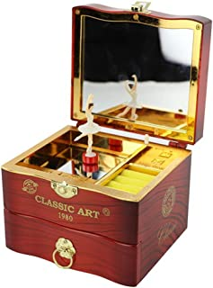 Syfinee Jewelry Box and Music Box for Girls Dancing Ballet Vintage Melody Jewelry Storage Drawer with Makeup Mirror a Great Toy for a 5 Year Old Girl or First Jewelry Box for Little Girls