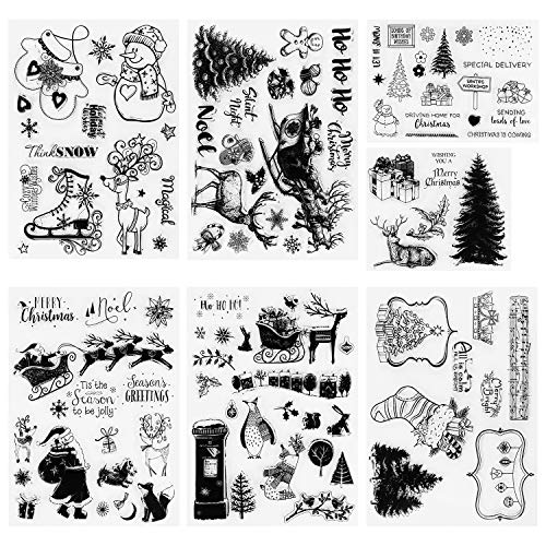 Konsait 95pcs Christmas Theme Clear Stamps, Different Style Christmas Silicone Stamps with Santa Claus,Snowflake,Reindeer for Card Making Scrapbooking Decoration,DIY Photo Card Journaling Album Decor