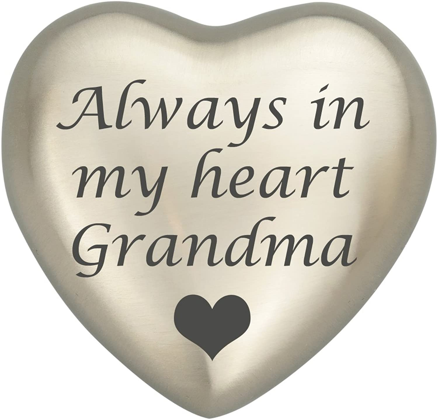 Always In My Heart Grandma Silver Heart Urn Keepsake for Ashes Cremation