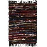 Indian Arts Fair gehandelter, handgefertigter indischer Chindi-Flickenteppich, recycelte Baumwolle und Vlies (60 x 90, schwarz)