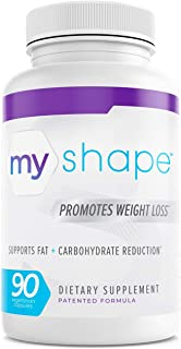 My Shape Weight Loss Dietary Supplement, Fat Loss, Fat and Carbohydrates Reduction, Natural, Gluten-Free, Stimulant-Free, 90 Vegetarian Capsules per Bottle - 1 Bottle