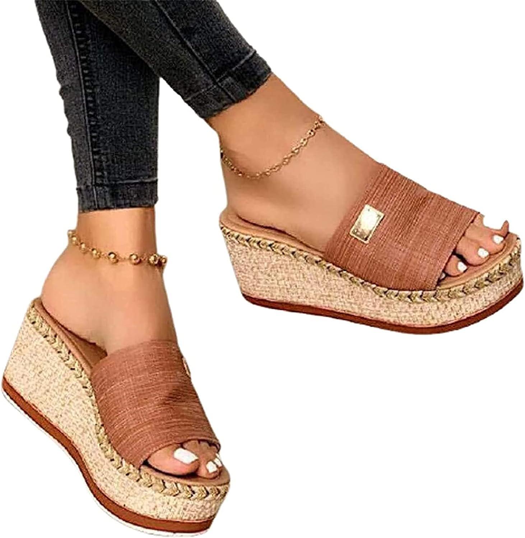 HHZY Women Summer Wedges Platform Sandals Slipper Ladies Open Toe Mules Espadrilles Casual Slip on Slide Sandals Comfy Breathable Beach Walking Shoes,Brown,US8/EU39