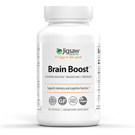 Jigsaw Health - Brain Boost - Supports Overall Health Including Many brain's Functions Such as Learning abilities, Working Memory, & Short-Term & Long-Term Memory.* - 90 Capsules (L-Threonate)