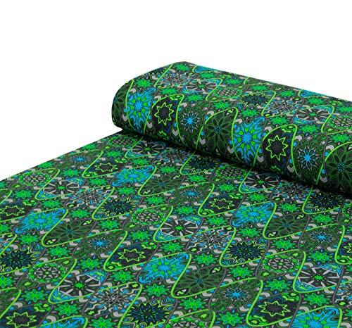 Nadeltraum Baumwoll - Jersey Stoff Ornamente grün - Meterware ab 25 cm x 150 cm - Stoff zum Nähen
