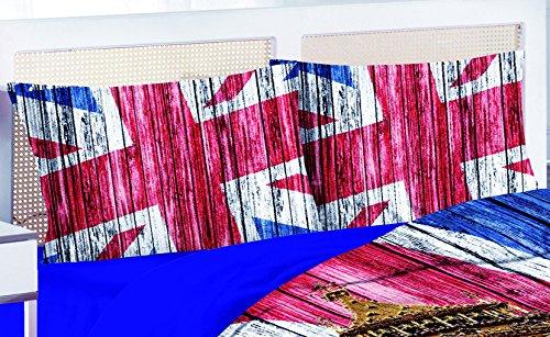 R.P. Paar kussenslopen voor tweepersoonsbed, 52 x 8 cm, 100% katoen, digitale druk, vlag van Londen