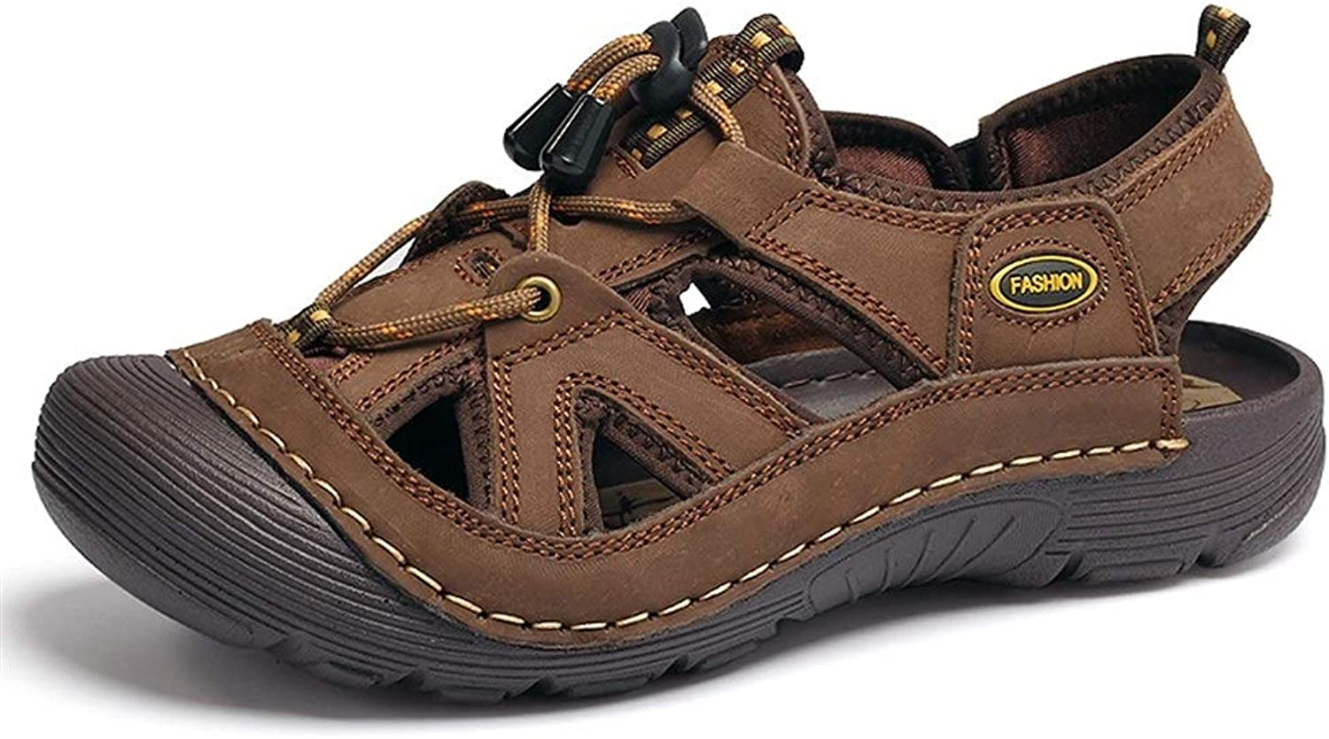 Easy Go Shopping Sandals for Men Casual Water shoes Genuine Leather Outdoor Sport Hiking Sandals Cricket shoes (color   Brown, Size   9 UK)